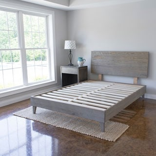 Industrial Barnwood Platform Bed Frame and Headboard