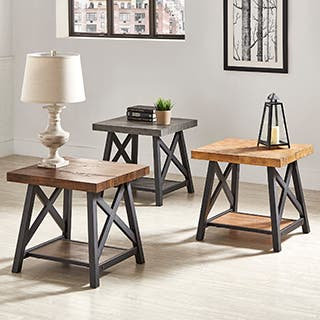Bryson Rustic X-Base End Table with Shelf by iNSPIRE Q Classic