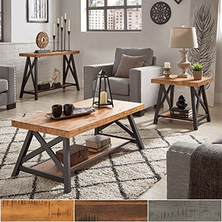 Rustic Furniture Living Room. Bryson Rustic X-Base Accent Tables By ...