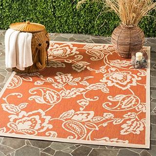 Martha Stewart by Safavieh Highland Lily Terracotta / Beige / Brown / Beige Area Rug (5'3 x 7'7)