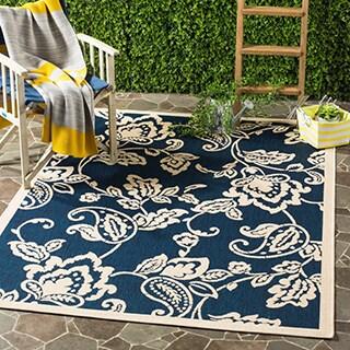 Martha Stewart by Safavieh Highland Lily / Navy / Beige Area Rug (5'3 x 7'7)