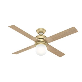 Hunter Fan Hepburn Brass 52-inch Ceiling Fan with 4 White Grain/Aged Oak Reversible Blades
