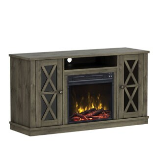 Bayport TV Stand For TVs Up To 55 Inches With Electric Fireplace   Spanish  Gray