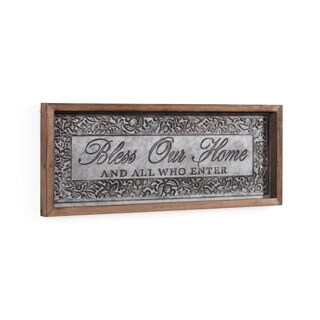 Danya B. Bless Our Home Framed Metal Art