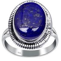 925 Sterling Silver Oval Gemstone Handmade Silver Wedding Ring