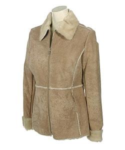 Shop Guess Tan Faux Shearling Suede Jacket Free Shipping