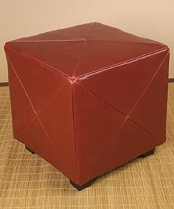Shop Burnt Red Leather Cube Ottoman Free Shipping Today