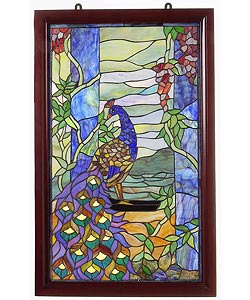 Tiffany-style Peacock Wooden Window Panel