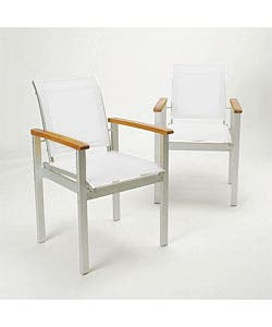 Shop Terrazza White Outdoor Dining Arm Chairs Set Of 2 Overstock 1088758