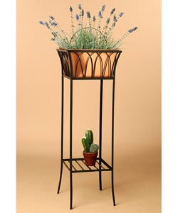 Tall Black Copper Wrought Iron Planter Ping The Best Deals On Planters Hangers Stands
