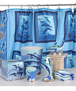 Dolphin bathroom accessories set w shower curtain free for Full bathroom sets