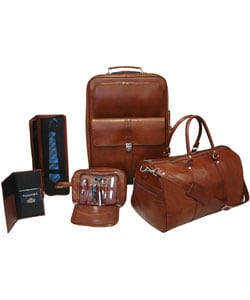 Brown Leather 5-piece Luggage Set - Free Shipping Today ...
