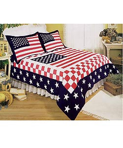 Stars and Stripes Patchwork Quilt Set - Thumbnail 0