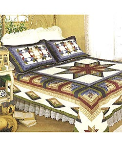 Carpenters Star Cotton Patchwork Quilt Set - Thumbnail 0
