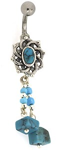 Carolina Glamour Collection Stainless Steel Turquoise Dangling Barbell Belly Ring