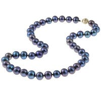 DaVonna 14k Gold Cultured Freshwater Black Pearl Necklace (9-10 mm/ 18 in)