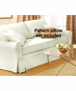 Megan Pebble Natural/White Skirted Sofa