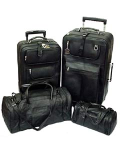 Black Leather 4-piece Luggage Set - Free Shipping Today ...