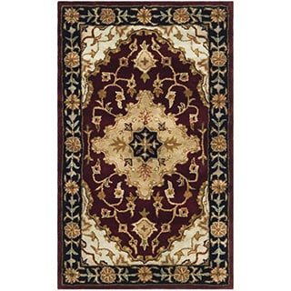 Safavieh Handmade Heritage Traditional Tabriz Red/ Black Wool Rug (5' x 8')