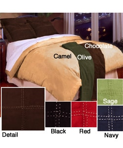 Microsuede Duvet Cover Set with Bedskirt - Thumbnail 0