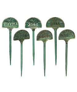 Thumbnail 1, Brass Herb Garden Markers (Set of 6).