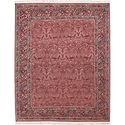 Nourison Hand-knotted Legacy Floral Rose Wool Rug (7'9 x 9'9)