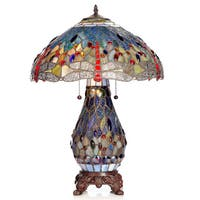 Tiffany-style Dragonfly Lamp with Lighted Base