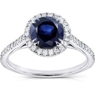 Annello by Kobelli 14k White Gold Round Blue Sapphire and 1/4ct TDW Diamond Halo Ring (G-