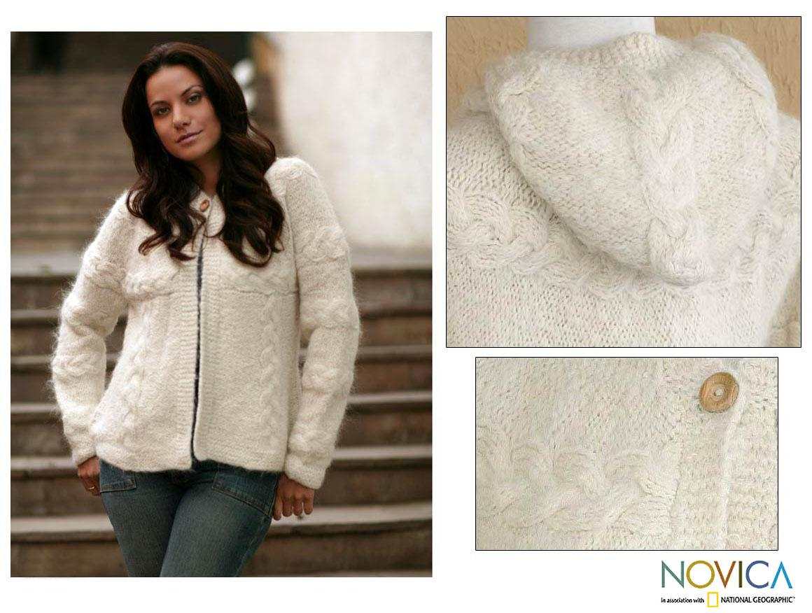 Women's Alpaca Wool Blend 'Snow Fizz' Hooded Cardigan Sweater (Peru)
