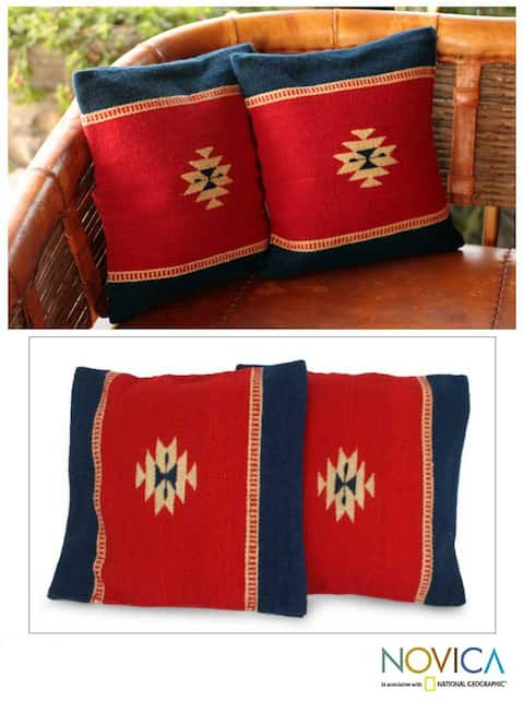 Set of Two Wool Starlight Zapotec Cushion Covers (Mexico)