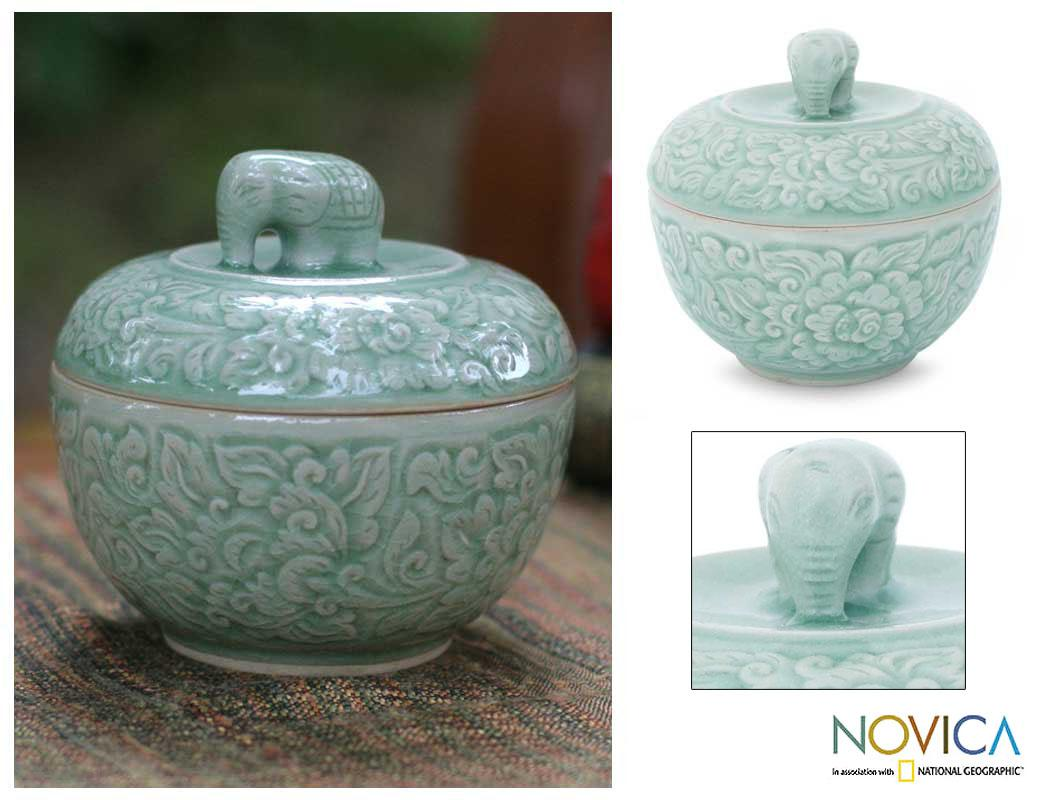 Handmade Celadon Ceramic 'Rose of Sharon' Jar (Thailand)
