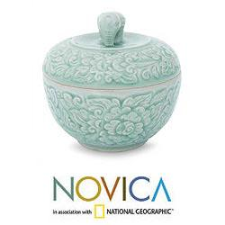 Handmade Celadon Ceramic 'Rose of Sharon' Jar (Thailand) - Thumbnail 1