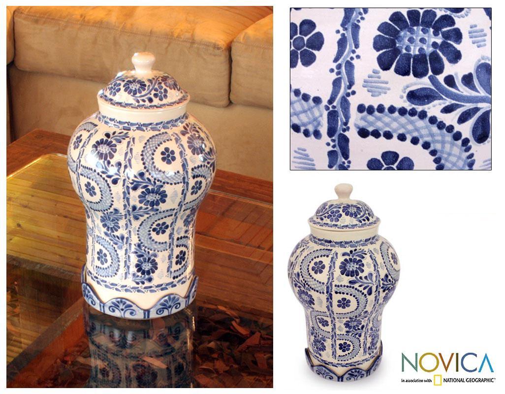 Handcrafted Ceramic 'Path to Puebla' Jar (Mexico)