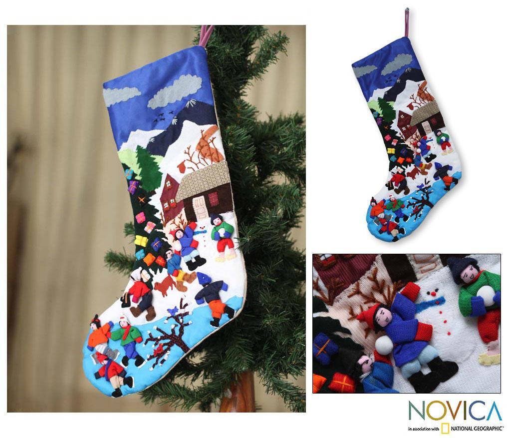 Cotton 'Joy' Applique Christmas Stocking (Peru)