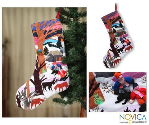 Handmade Cotton 'Winter Wonderland' Applique Christmas Stocking (Peru)