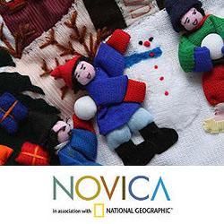 Cotton 'Joy' Applique Christmas Stocking (Peru) - Thumbnail 2