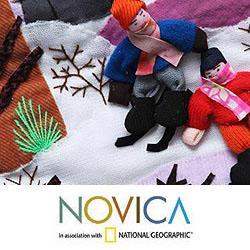 Handmade Cotton 'Winter Wonderland' Applique Christmas Stocking (Peru)
