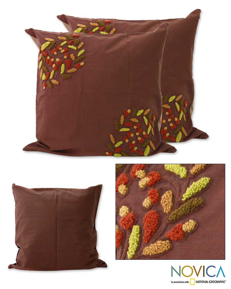 Set of Two Cotton 'Ubud Bouquet' Cushion Covers (Indonesia)
