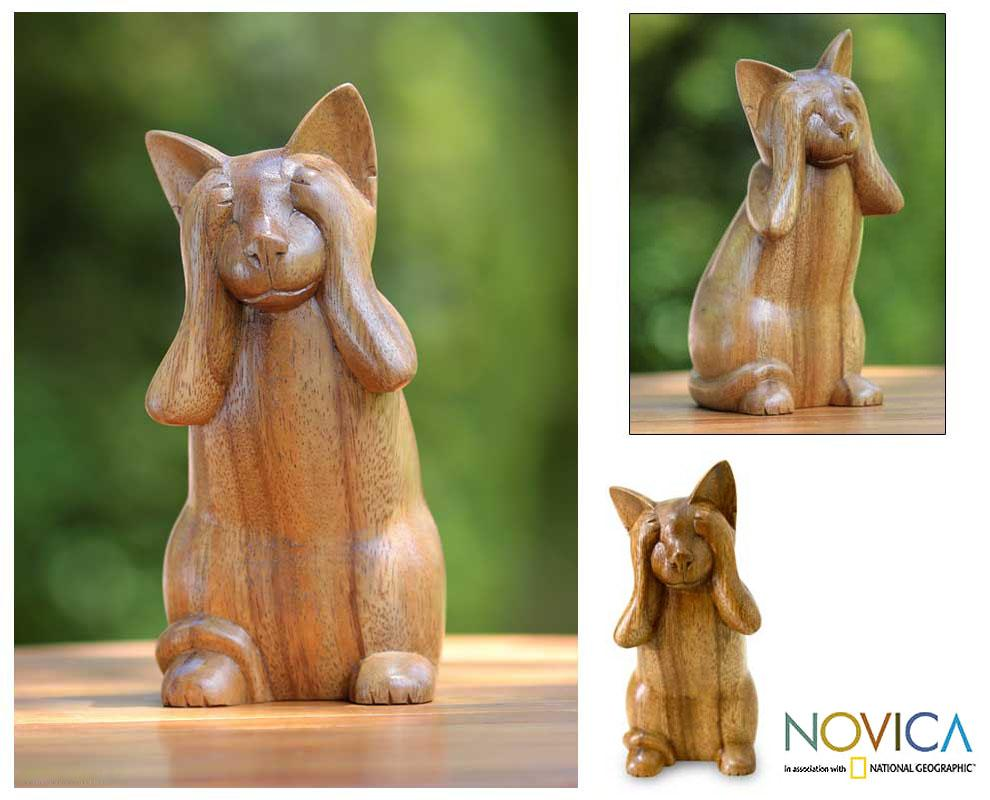 Handcrafted Suar Wood 'See No Evil Kitty' Sculpture (Indonesia)
