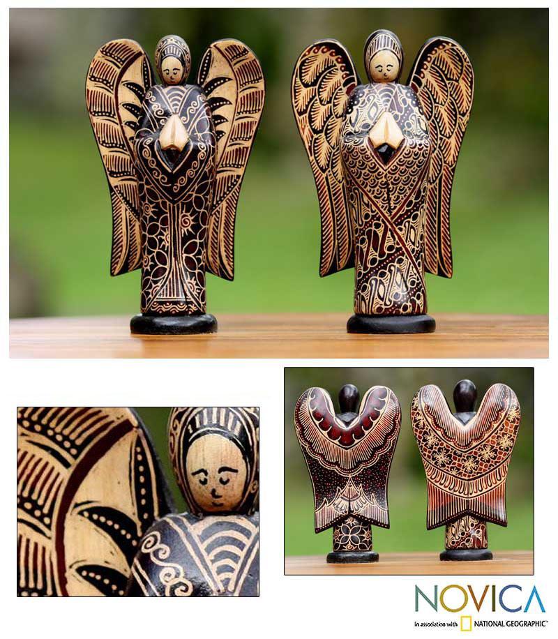 Set of 2 Pule Wood 'Angelic Welcome' Batik Sculptures (Indonesia)