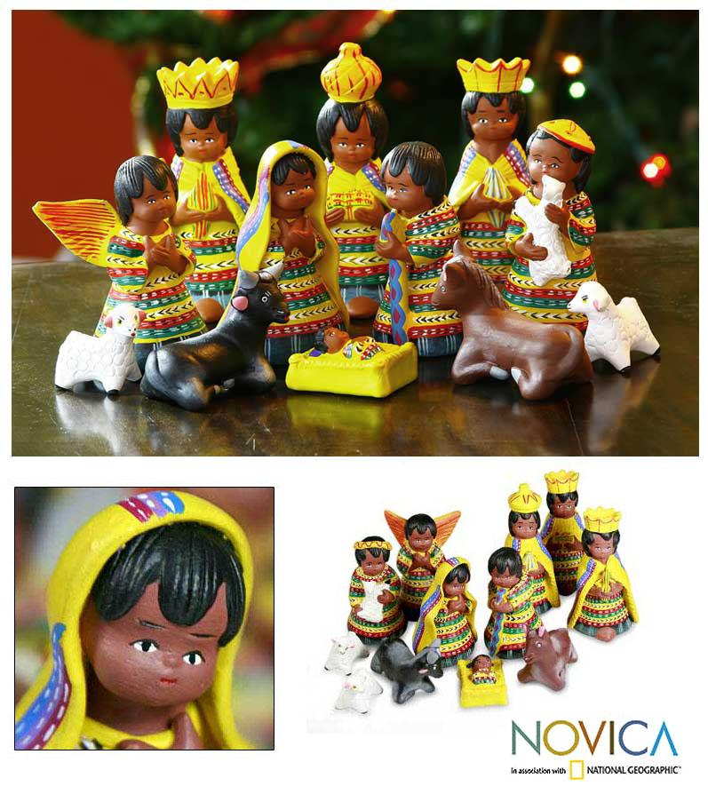 Set of 12 Ceramic 'Christmas in San Juan' Nativity Scene (Guatemala)