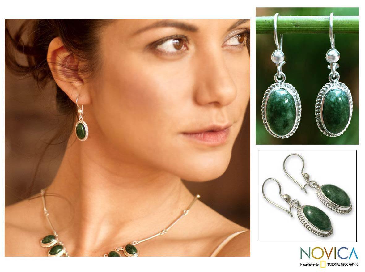 Eternal Love Green Jade Oval Gemstones with Rope Bezels Adorn 925 Sterling Silver Classic Womens Dangle Earrings (Guatemala)