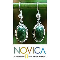 Eternal Love Green Jade Oval Gemstones with Rope Bezels Adorn 925 Sterling Silver Classic Womens Dangle Earrings (Guatemala) - Thumbnail 1