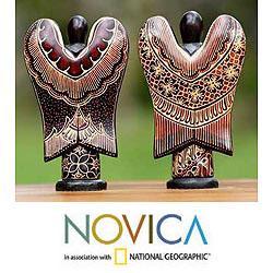 Set of 2 Pule Wood 'Angelic Welcome' Batik Sculptures (Indonesia) - Thumbnail 2