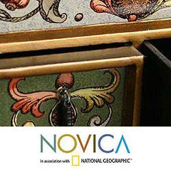 Painted Glass 'Floral Majesty' Chest of Drawers (Peru) - Thumbnail 2