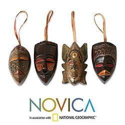 Set of 4 Sese Wood 'Festive Masks' Ornaments (Ghana)