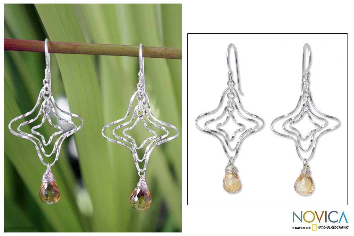 Sterling Silver 'Chiang Mai Starshine' Citrine Earrings (Thailand)