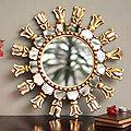 Fleur De Lis Style Artisan Handmade Home Decor Mohena Wood Accent Decorative Gold Hall Bedroom Bathroom Wall Mirror (Peru)