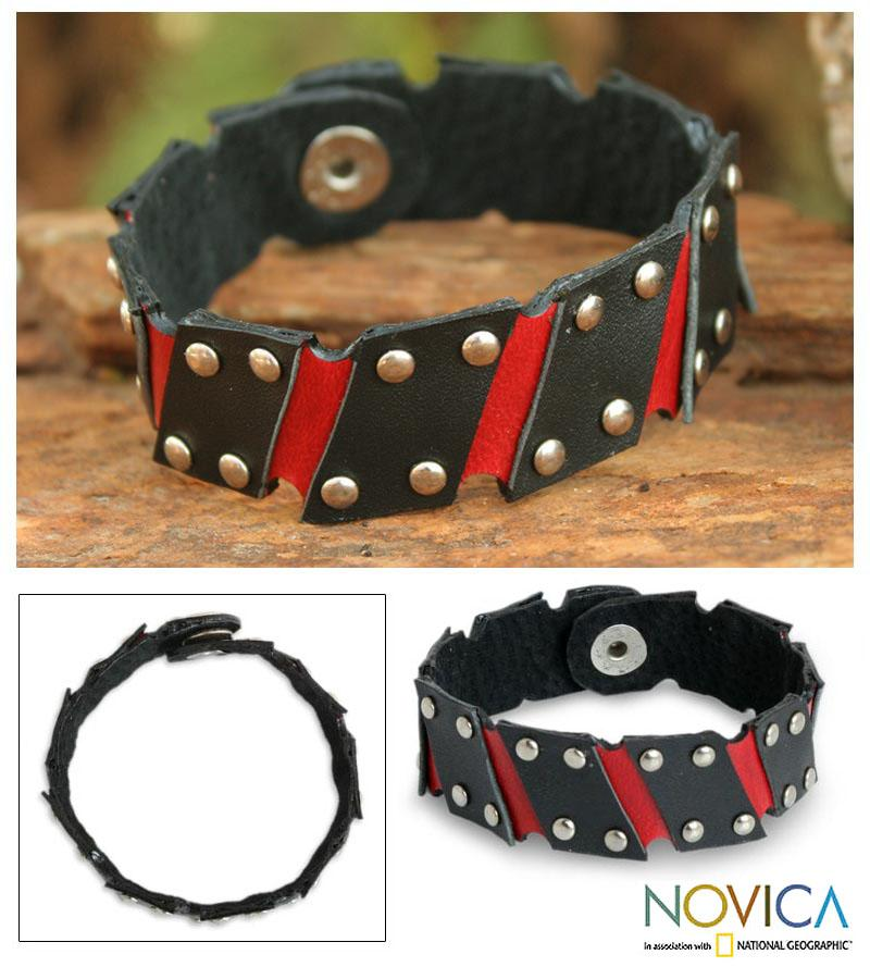 Handcrafted Leather 'Black and Red' Wristband Bracelet (Thailand)