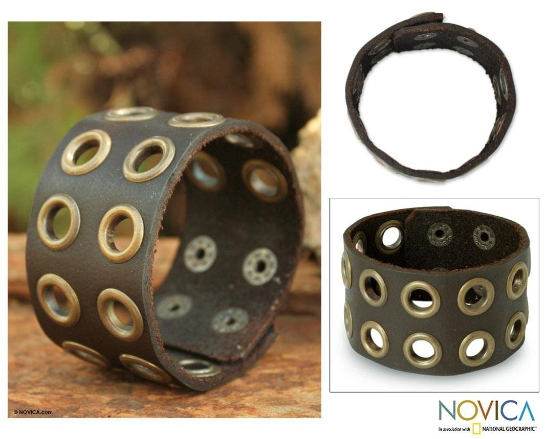Leather Men's 'Rogue Cinnamon' Wristband Bracelet (Thailand)